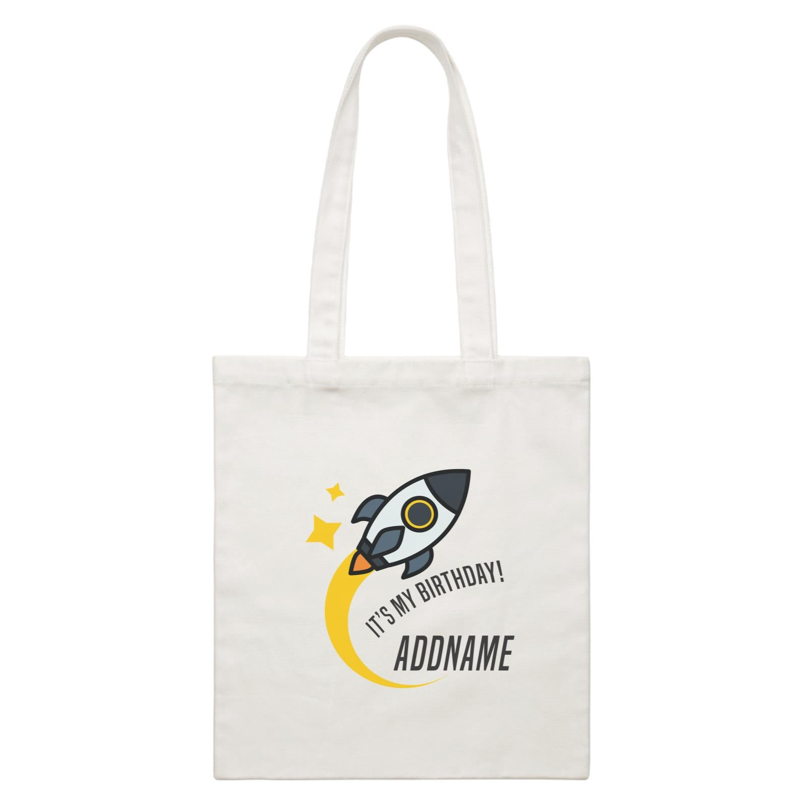 Birthday Flying Rocket To Galaxy It's My Birthday Addname White Canvas Bag