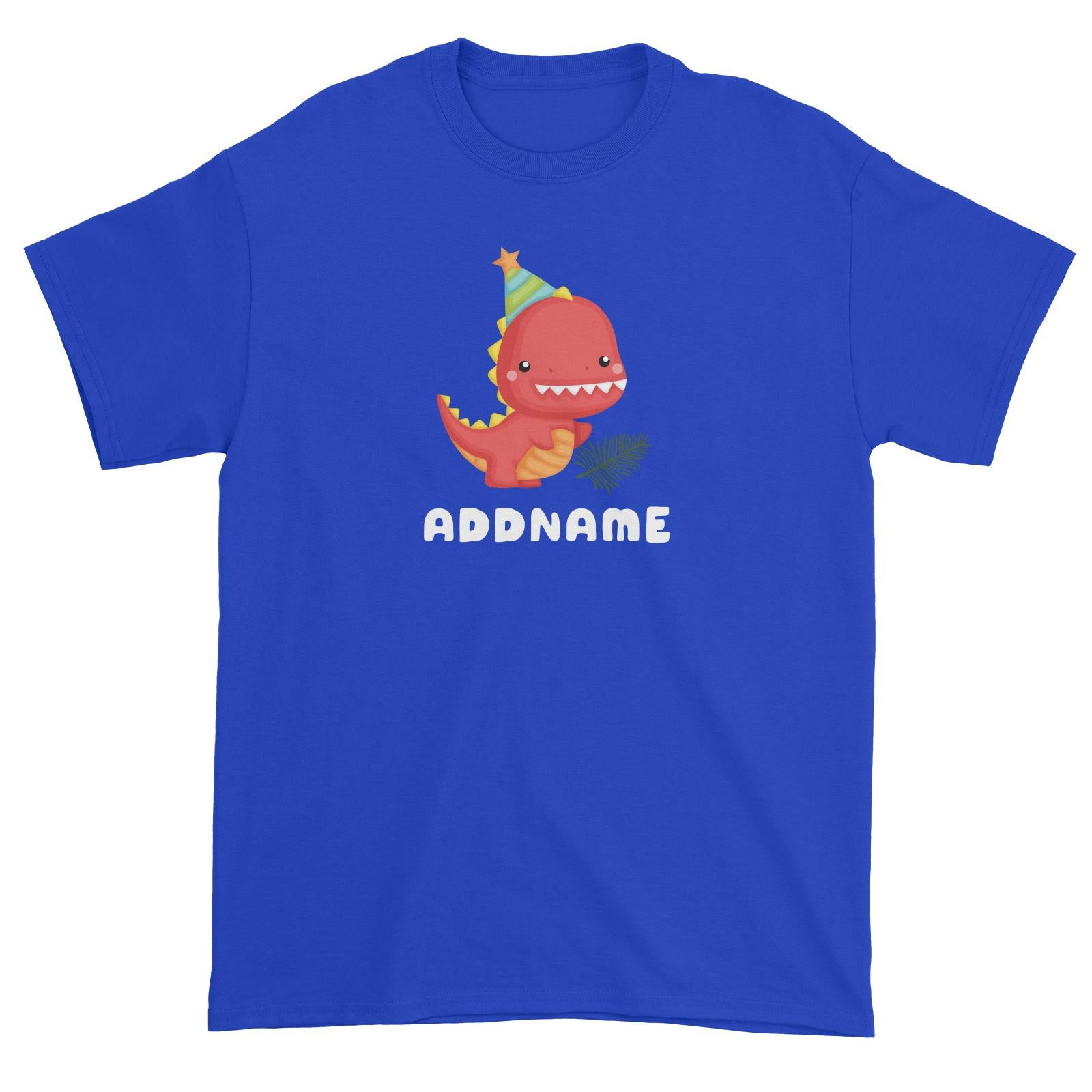 Birthday Dinosaur Happy Red Rex Wearing Party Hat Addname Unisex T-Shirt