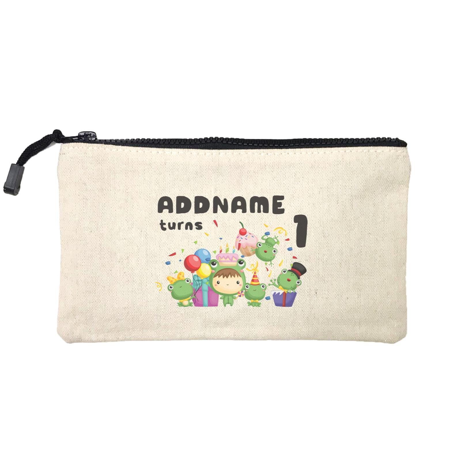 Birthday Frog Happy Frog Group Addname Turns 1 Mini Accessories Stationery Pouch