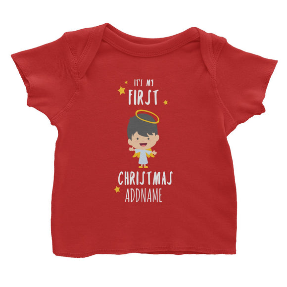 Cute Boy Angel First Christmas Addname Baby T-Shirt  Personalizable Designs