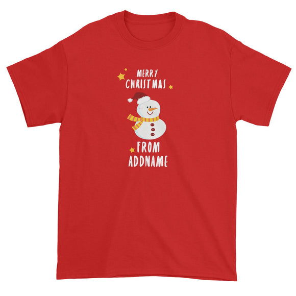 Cute Snowman Merry Christmas Greeting Addname Unisex T-Shirt  Personalizable Designs Matching Family