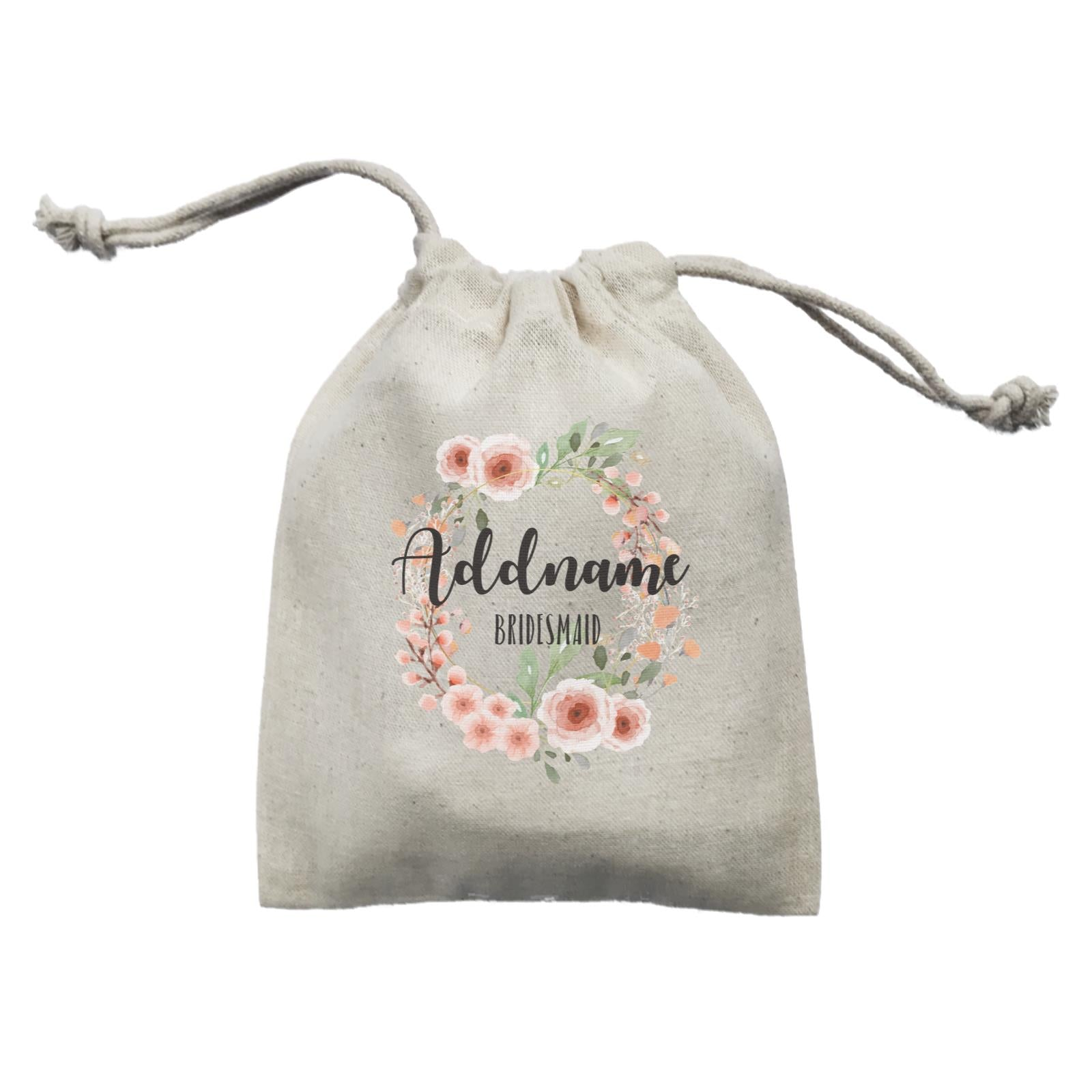 Bridesmaid Floral Sweet 2 Watercolour Flower Wreath Bridesmaid Addname Mini Accessories Mini Pouch