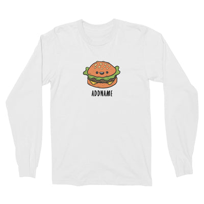 Fast Food Burger Addname Long Sleeve Unisex T-Shirt  Matching Family Comic Cartoon Personalizable Designs