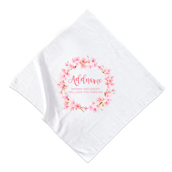 Pink Flower Garland Personalisable with Name and Text Muslin  Square