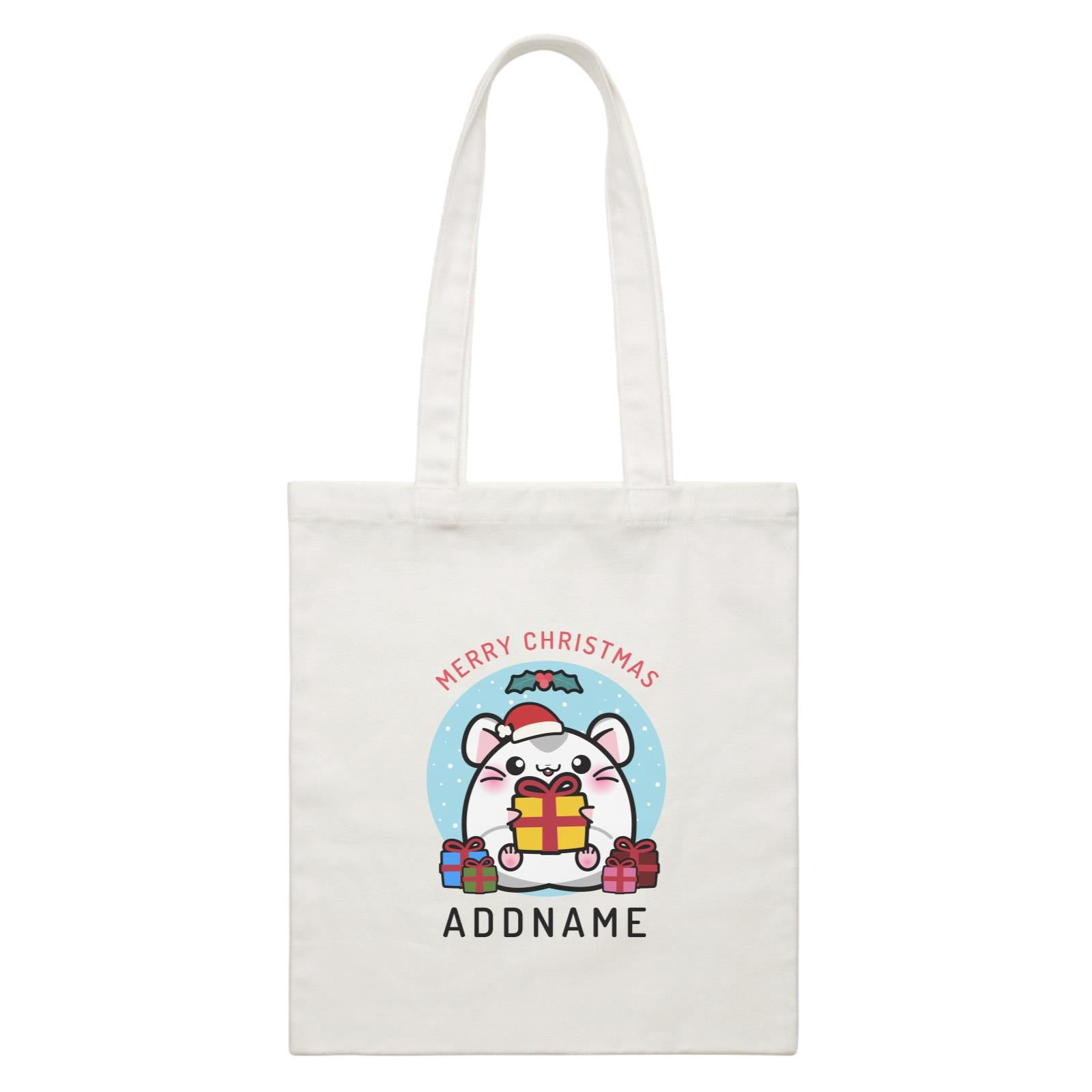 Merry Christmas Cute Santa Boy Hamster with Gifts White Canvas Bag