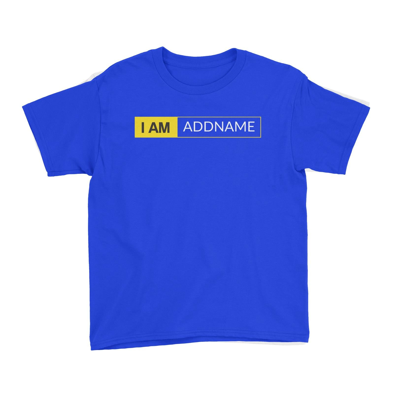 I AM Addname in Yellow Box Kid's T-Shirt Basic Nikon Matching Family Personalizable Designs