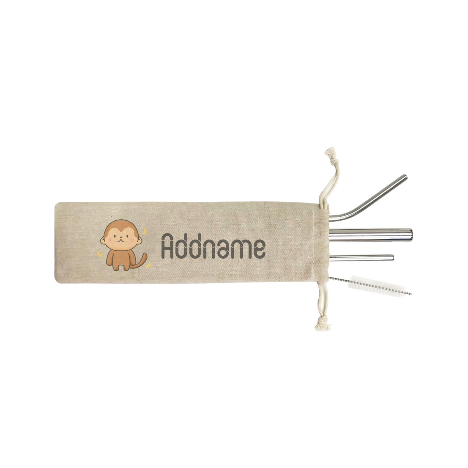 Cute Hand Drawn Style Monkey Addname ST SZP 4-In-1 Stainless Steel Straw Set in Satchel