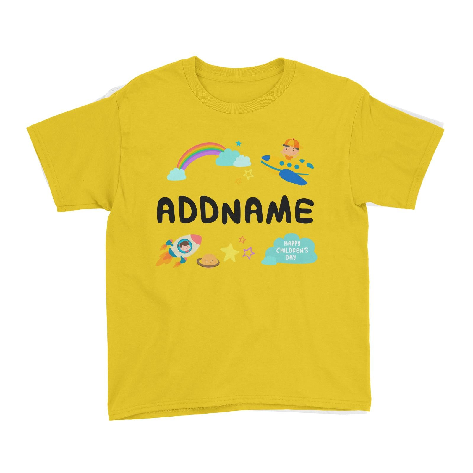 Children's Day Gift Series Adventure Boy Space Rainbow Addname Kid's T-Shirt