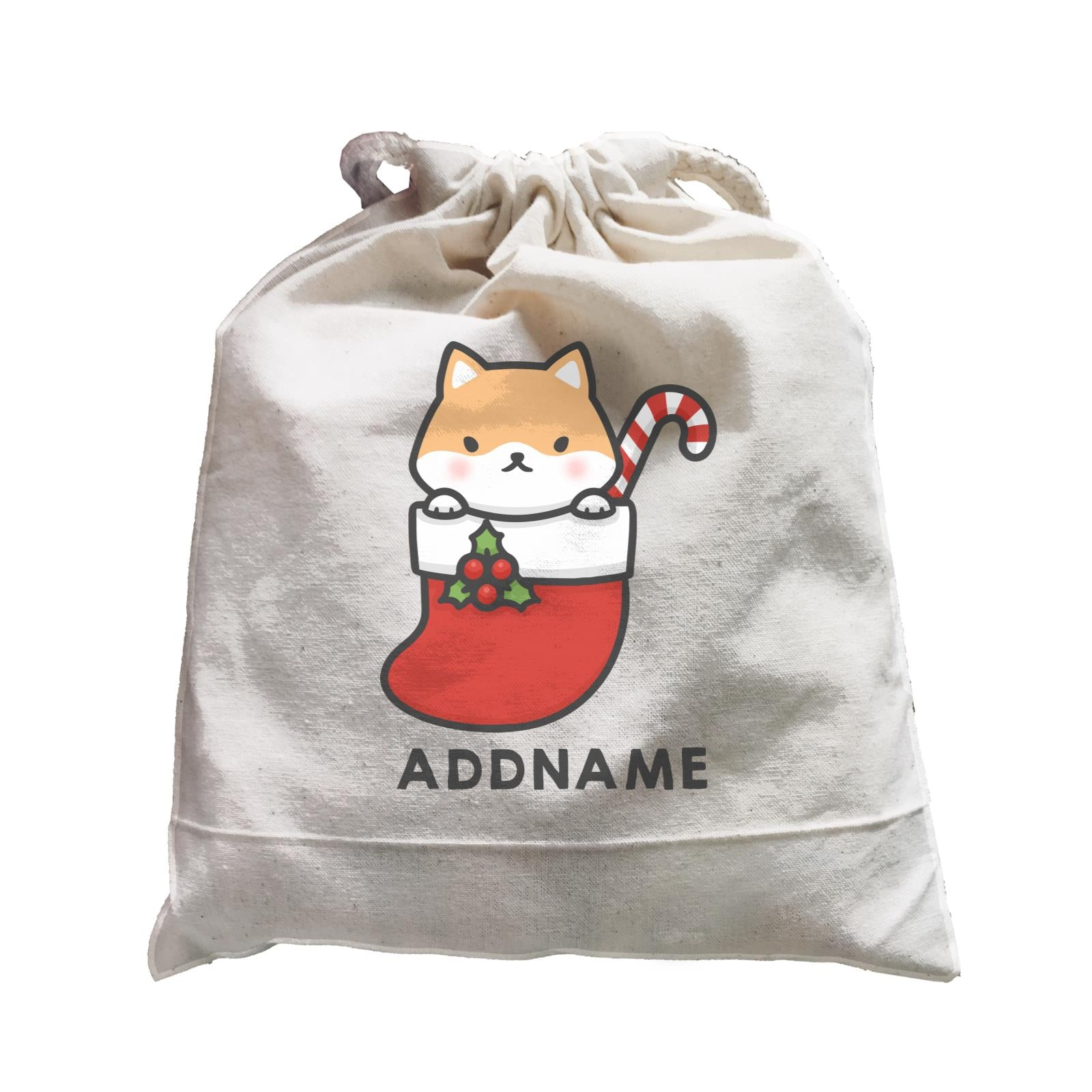 Xmas Cute Dog In Christmas Sock Addname Accessories Satchel