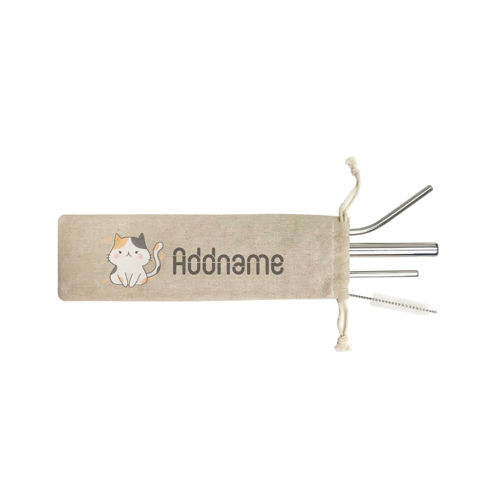 Cute Hand Drawn Style Cat Addname ST SZP 4-In-1 Stainless Steel Straw Set in Satchel