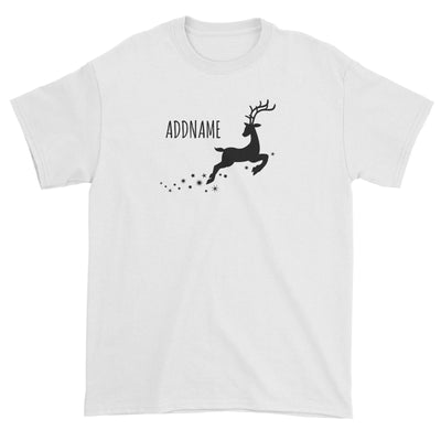 Flying Reindeer Silhouette Addname Unisex T-Shirt Christmas Personalizable Designs Animal Matching Family