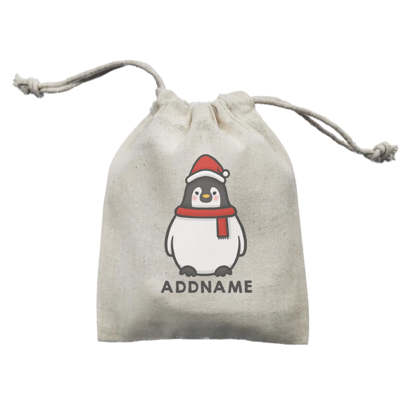 Xmas Cute Pengiun Christmas Hat Addname Mini Accessories Mini Pouch