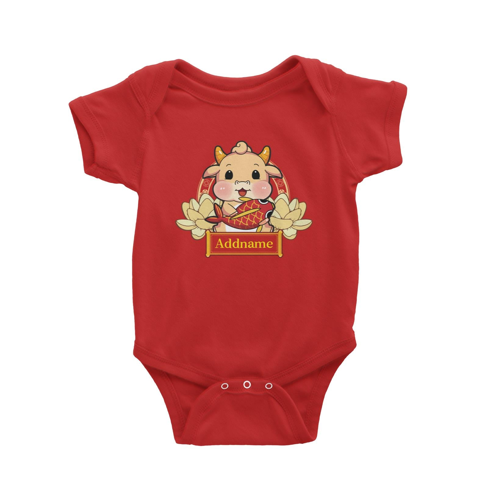 [CNY 2021] Gold Lotus Series Golden Cow with Koi Fish Baby Romper