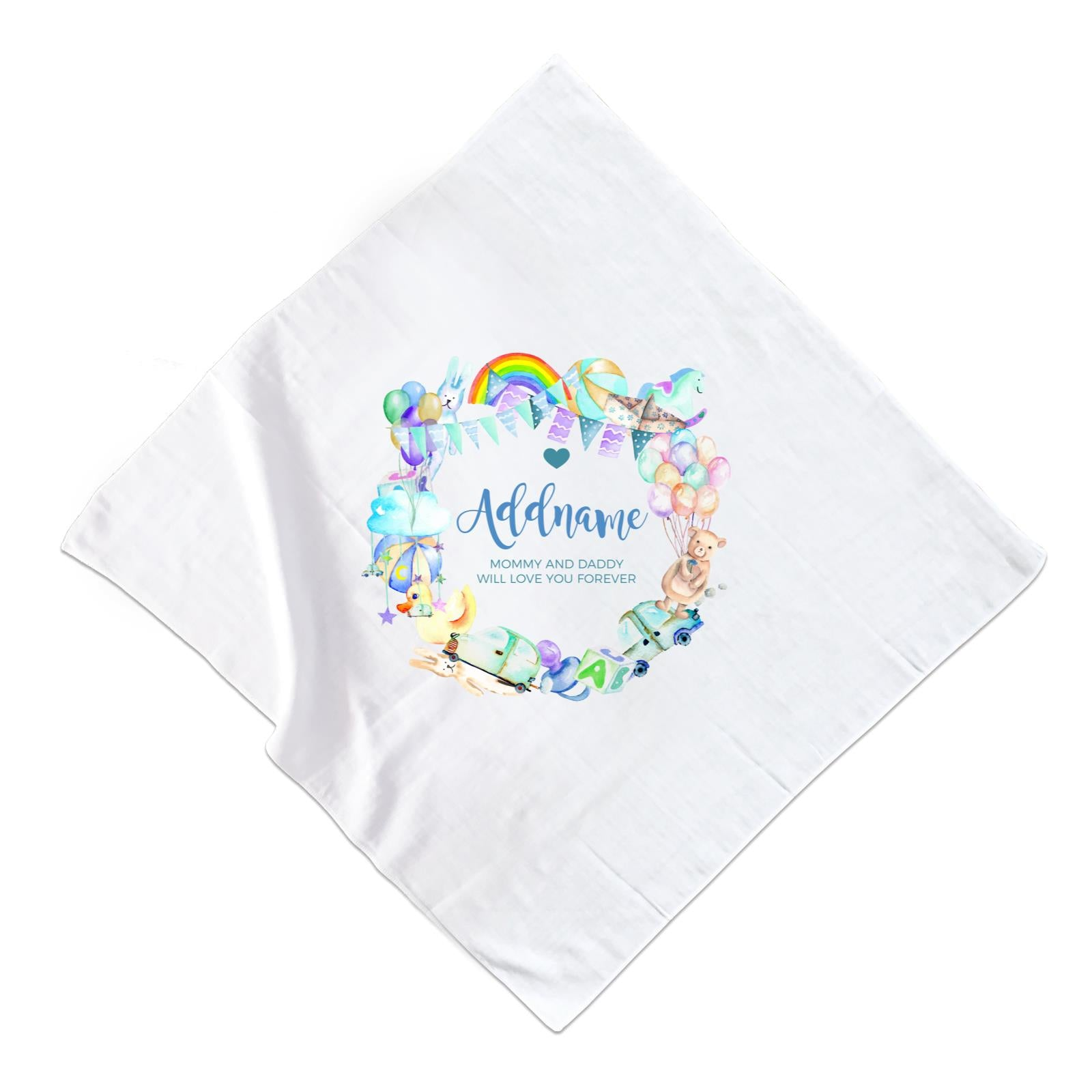 Watercolour Magical Boyish Creatures and Elements Personalizable with Name and Text Muslin Square