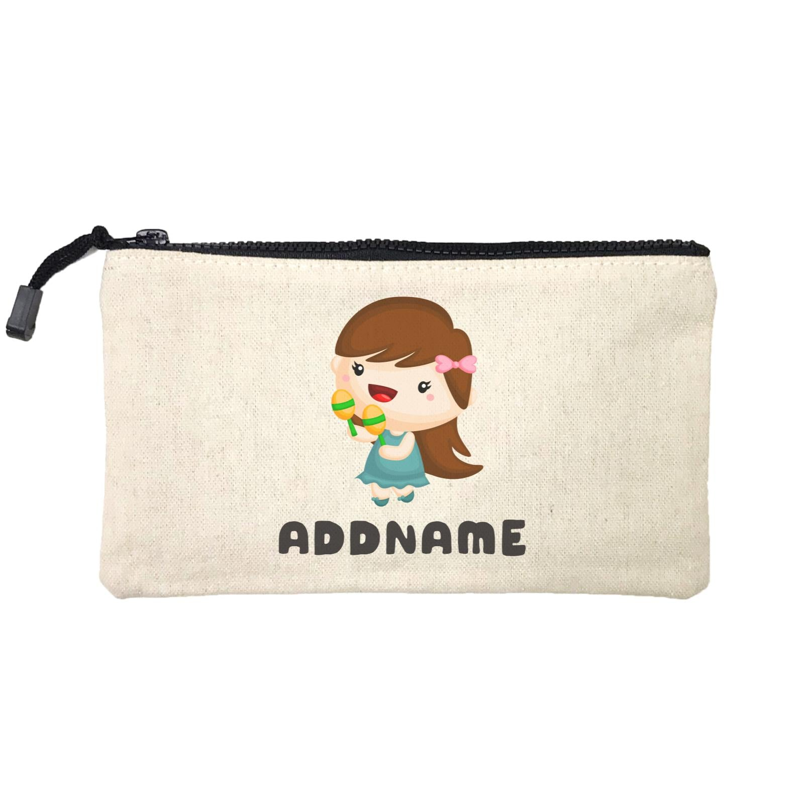 Birthday Music Band Girl Playing Maracas Addname Mini Accessories Stationery Pouch