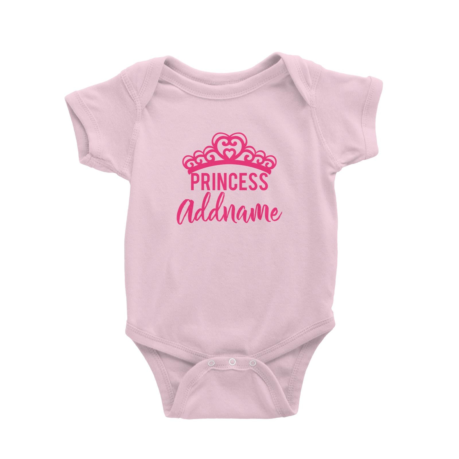 Babywears.my Princess Addname with Tiara T-Shirt Pinky Personalizable Designs