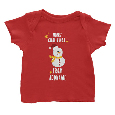 Cute Snowman Merry Christmas Greeting Addname Baby T-Shirt  Personalizable Designs Matching Family