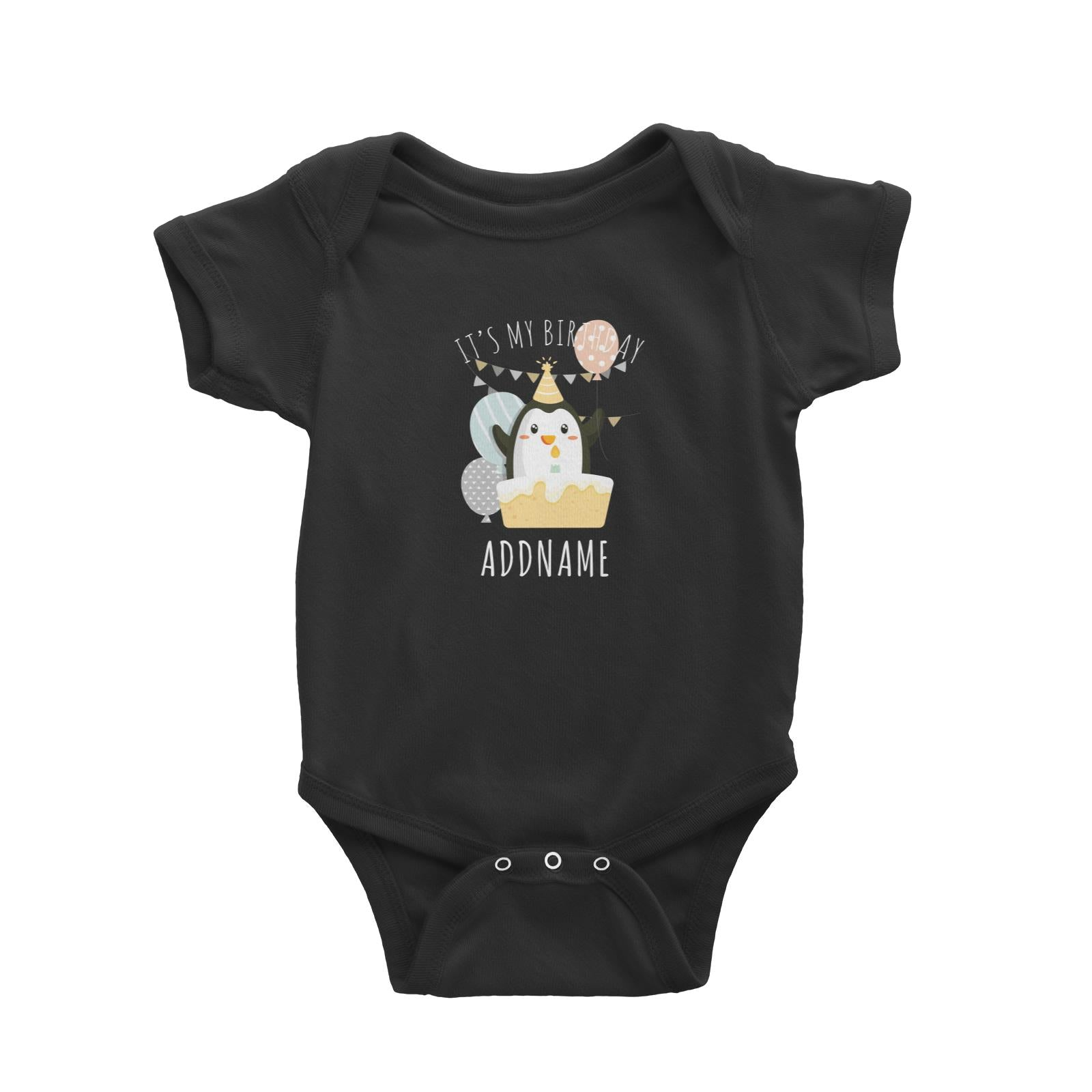 Birthday Cute Penguin And Cake It's My Birthday Addname Baby Romper