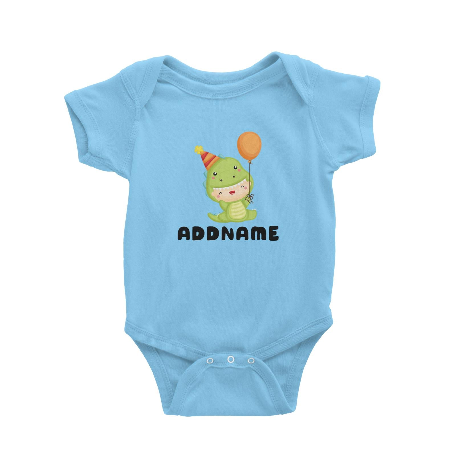 Birthday Dinosaur Happy Baby Wearing Dinosaur Suit And Party Hat Addname Baby Romper