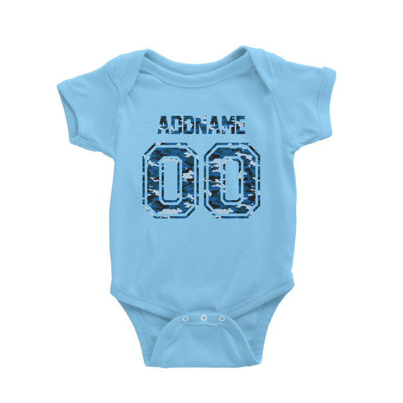 Custom Jersey Blue Camo With Name and Number Baby Romper