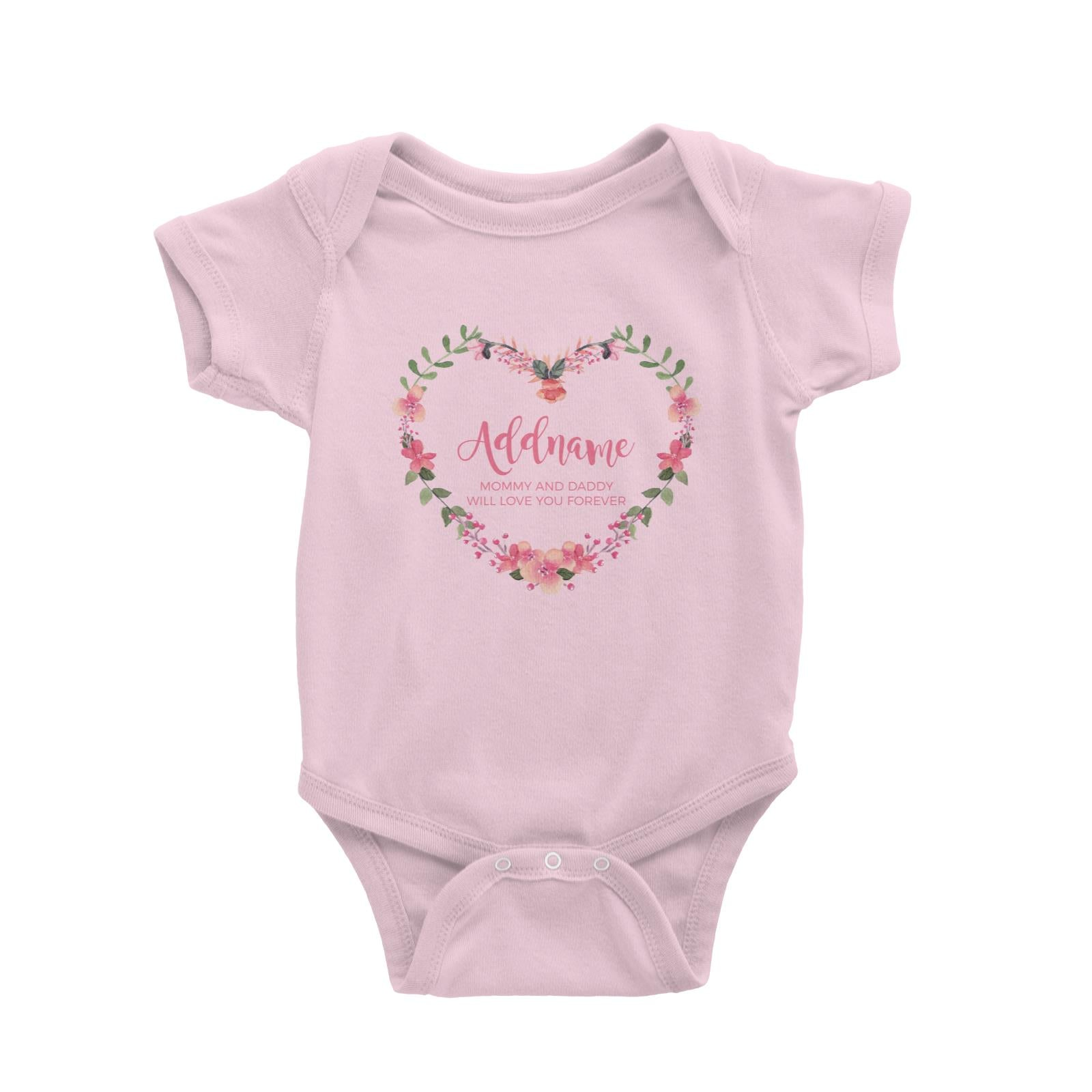 Pink Heart Shaped Flower Wreath Personalizable with Name and Text Baby Romper