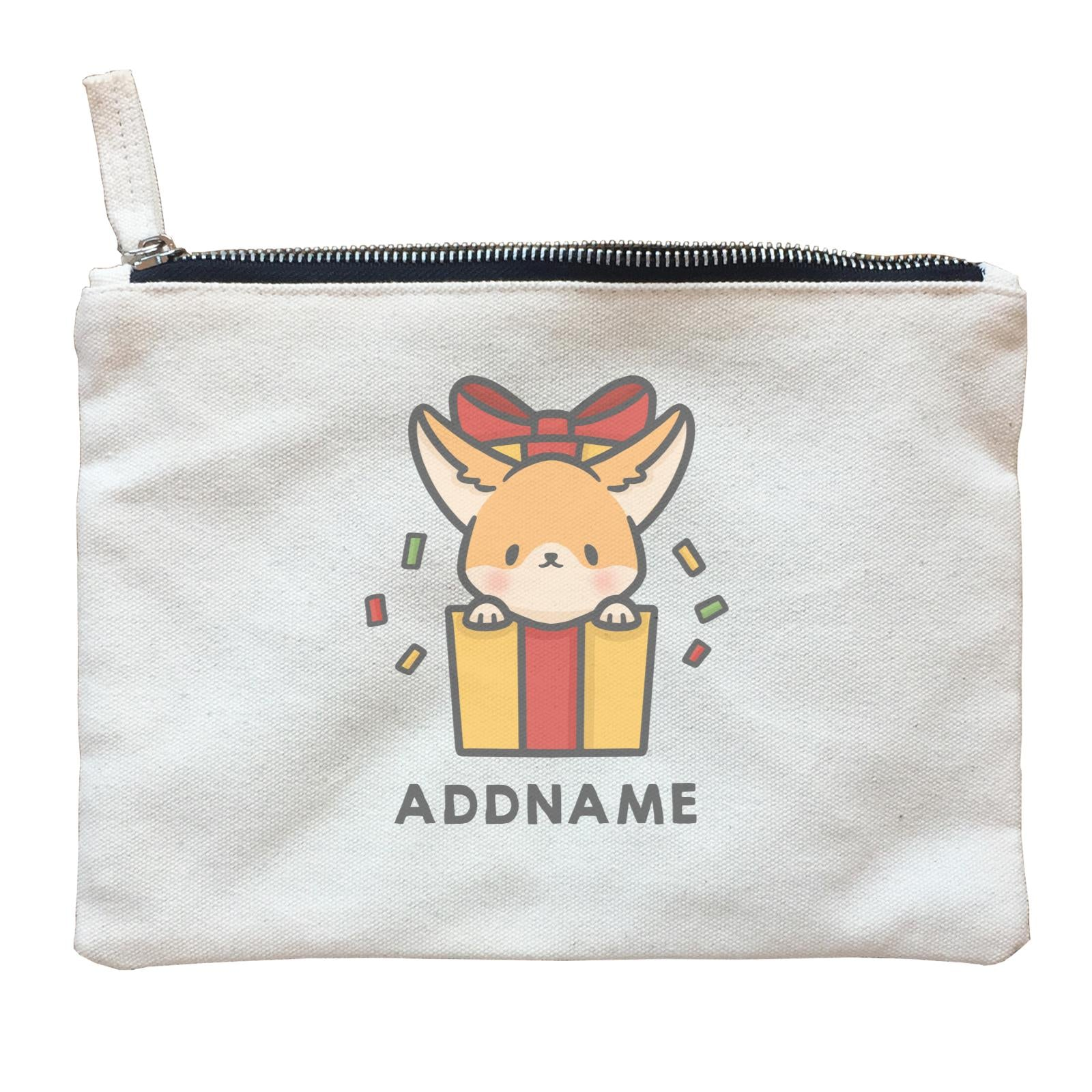 Xmas Cute Dog In Gift Box Addname Accessories Zipper Pouch