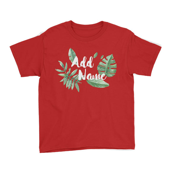 Tropical Leaves Addname Kid's T-Shirt Basic Matching Family