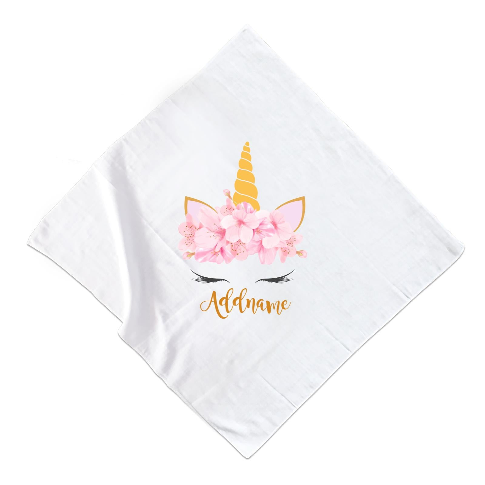 Pink Flower Garland Unicorn Face Addname Muslin  Square