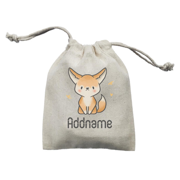 Cute Hand Drawn Style Fennec Fox Addname Mini Accessories Mini Pouch