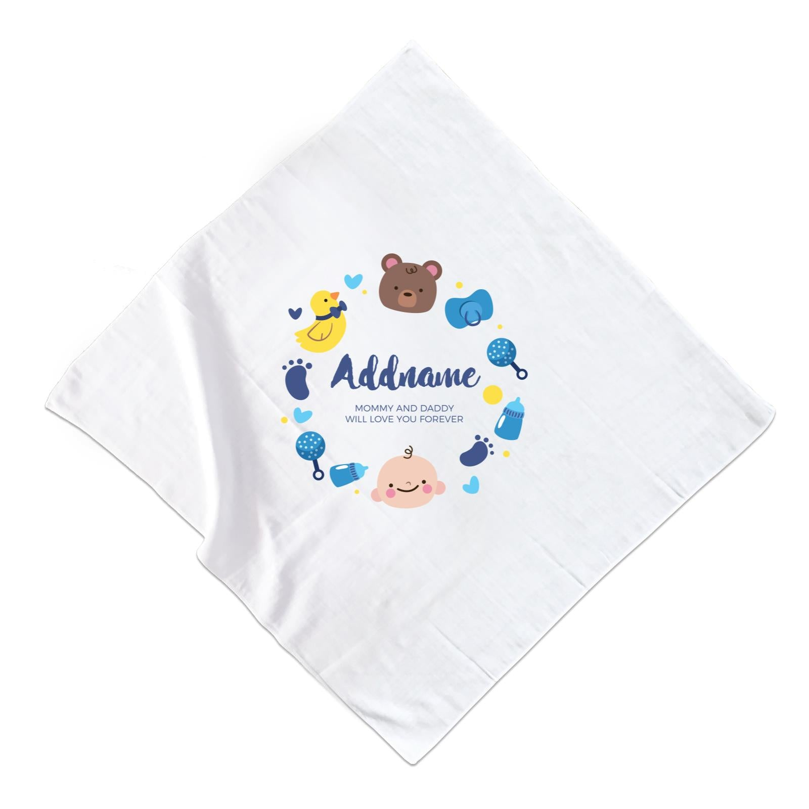 Cute Baby Boy Elements Personalizable with Name and Text Muslin Square