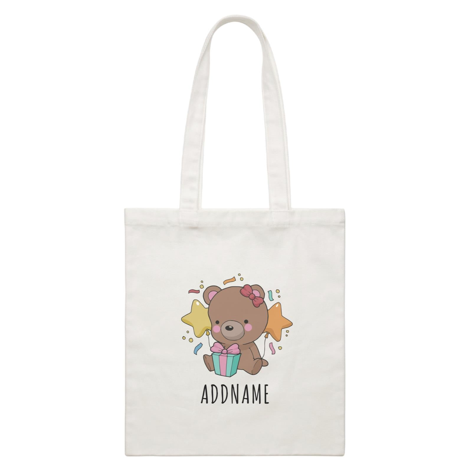 Birthday Sketch Animals Bear with Present Addname White Canvas Bag