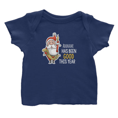 Santa Says Addname Has Been Good This Year Baby T-Shirt Christmas Matching Family Personalizable Designs Cute