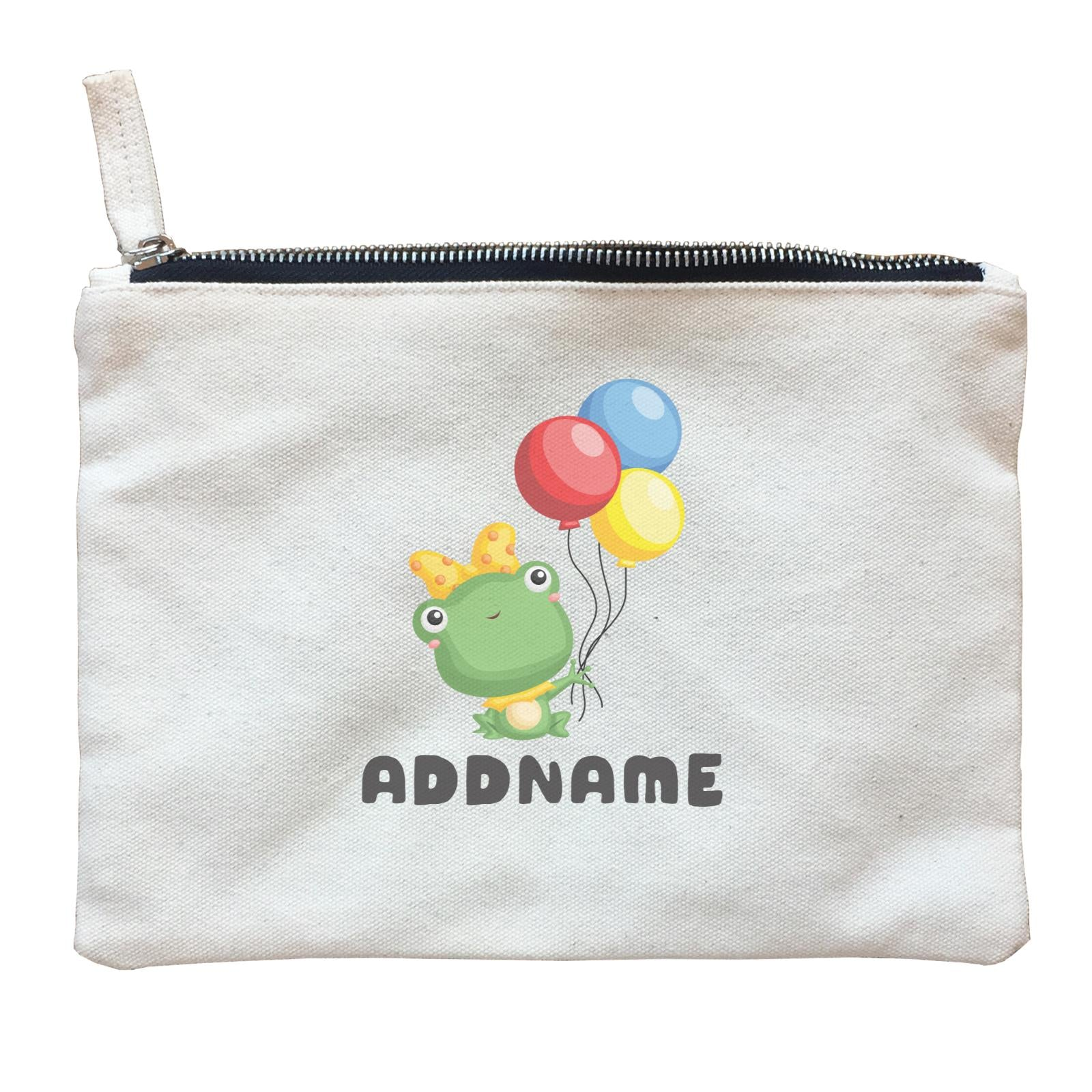 Birthday Frog Frog Girl Holding Balloons Addname Zipper Pouch
