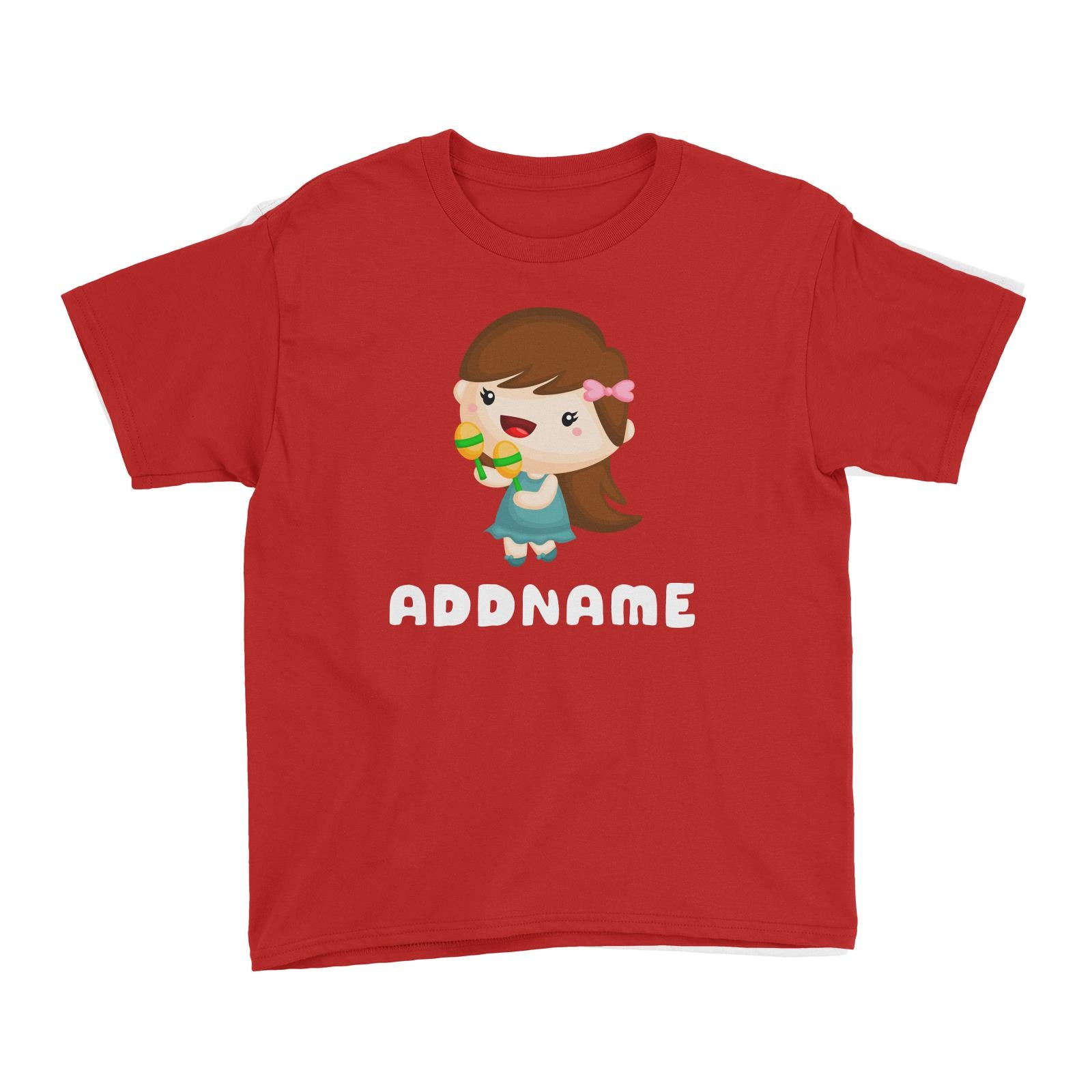 Birthday Music Band Girl Playing Maracas Addname Kid's T-Shirt