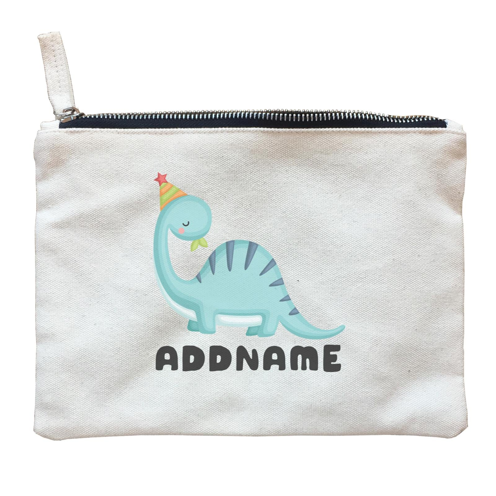 Birthday Dinosaur Happy Blue Long Neck With Party Hat Addname Zipper Pouch
