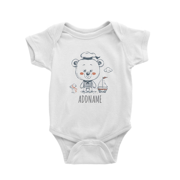 Sailor Bear with Toy Boat White Baby Romper Personalizable Designs Cute Sweet Animal For Boys HG