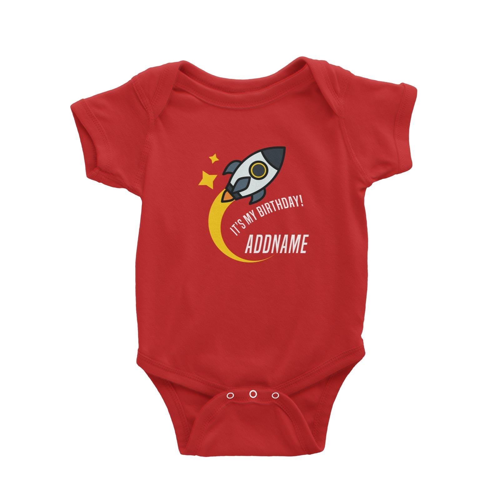 Birthday Flying Rocket To Galaxy It's My Birthday Addname Baby Romper