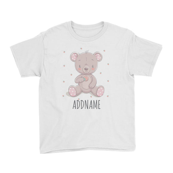 Girl Bear with Strawberry White Kid's T-Shirt Personalizable Designs Cute Sweet Animal For Girls Pinky HG