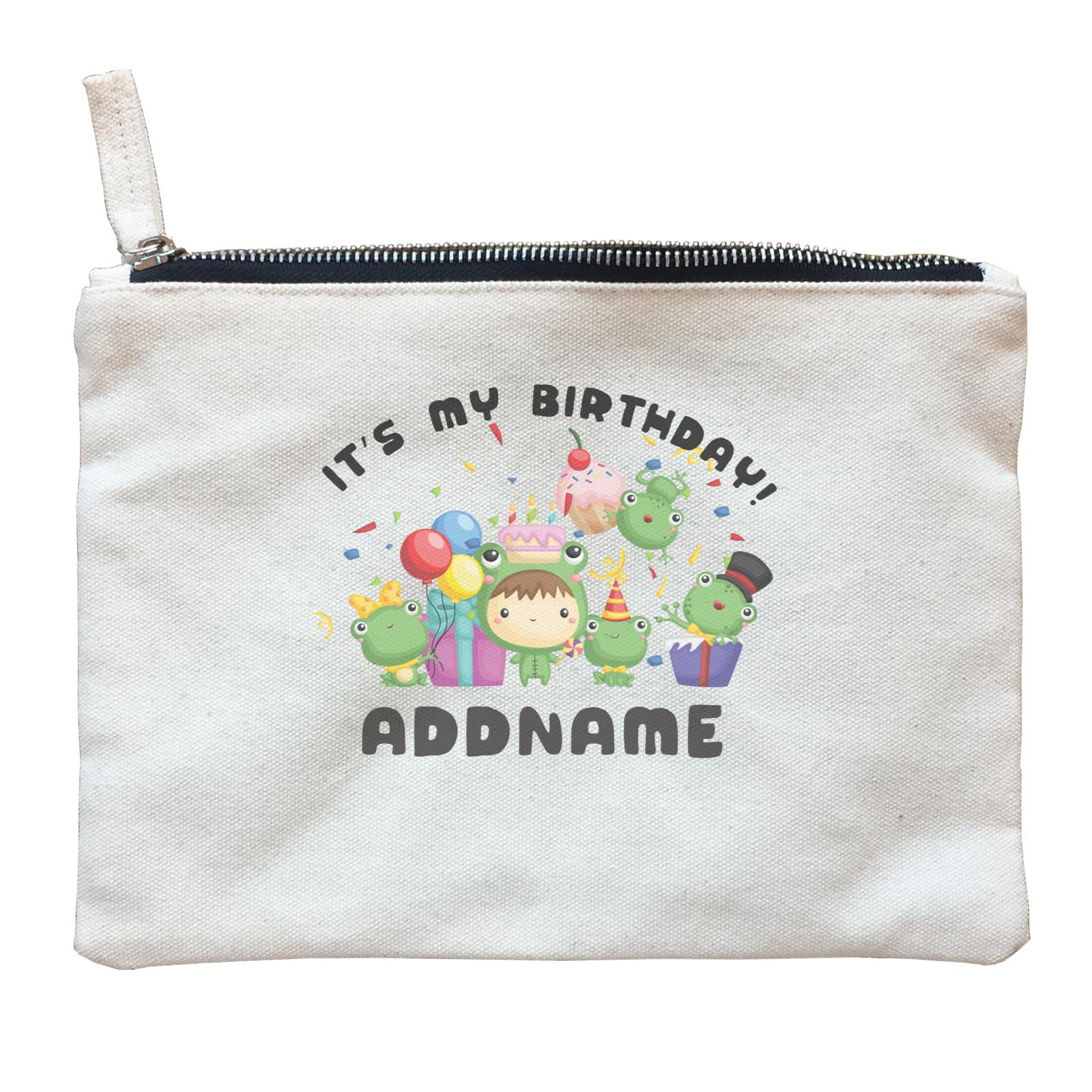 Birthday Frog Happy Frog Group It's My Birthday Addname Zipper Pouch