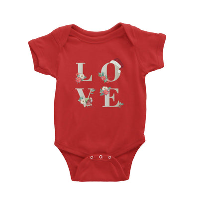 LOVE with Christmas Elements Baby Romper  Matching Family Personalisable Designs