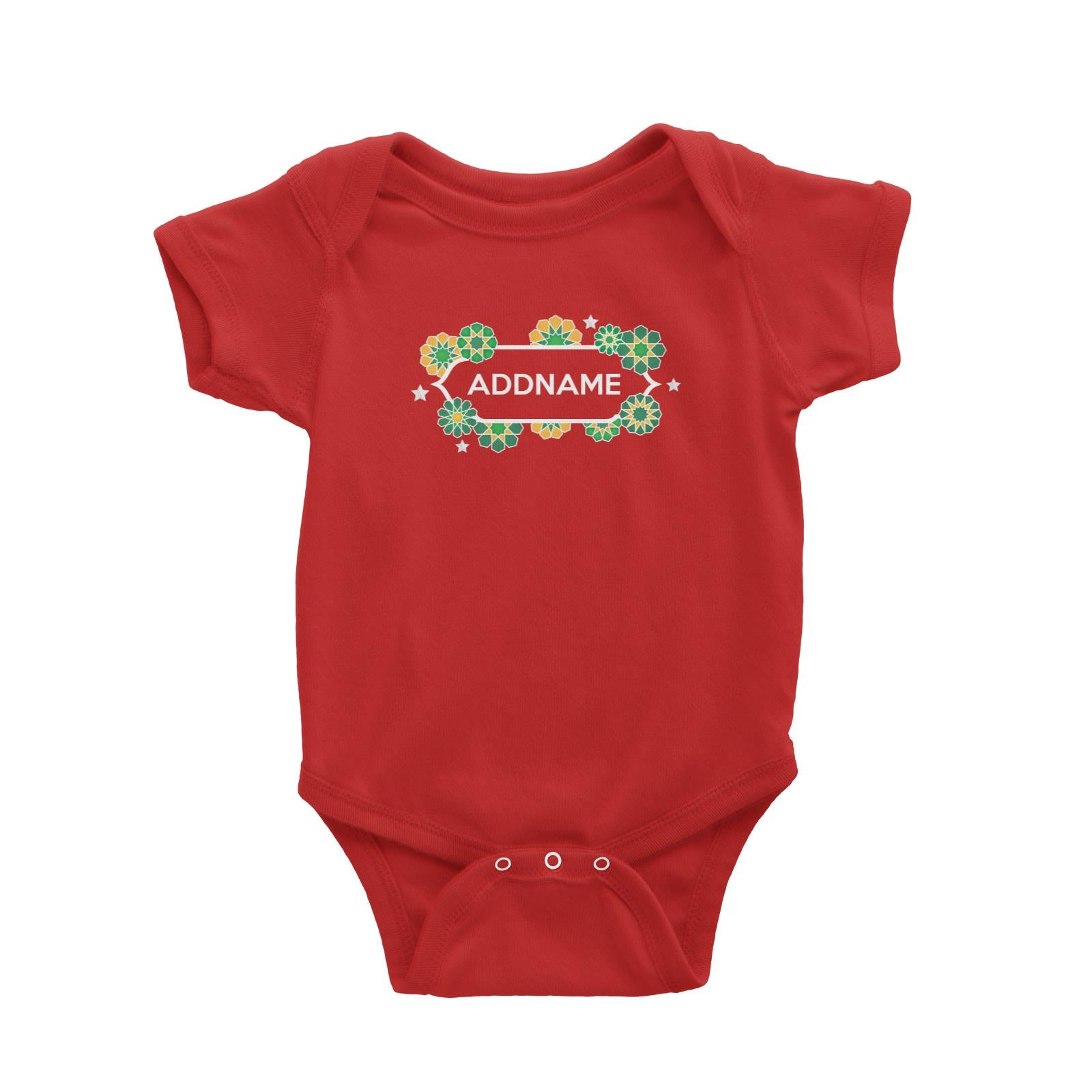 Raya Chest Islamic Geometric Pattern Addname Baby Rompers