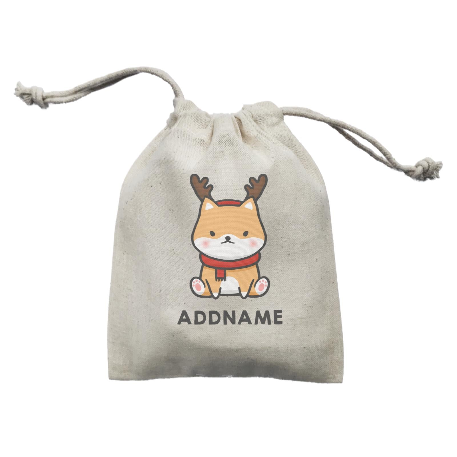 Xmas Cute Shiba Inu Sitting Addname Mini Accessories Mini Pouch