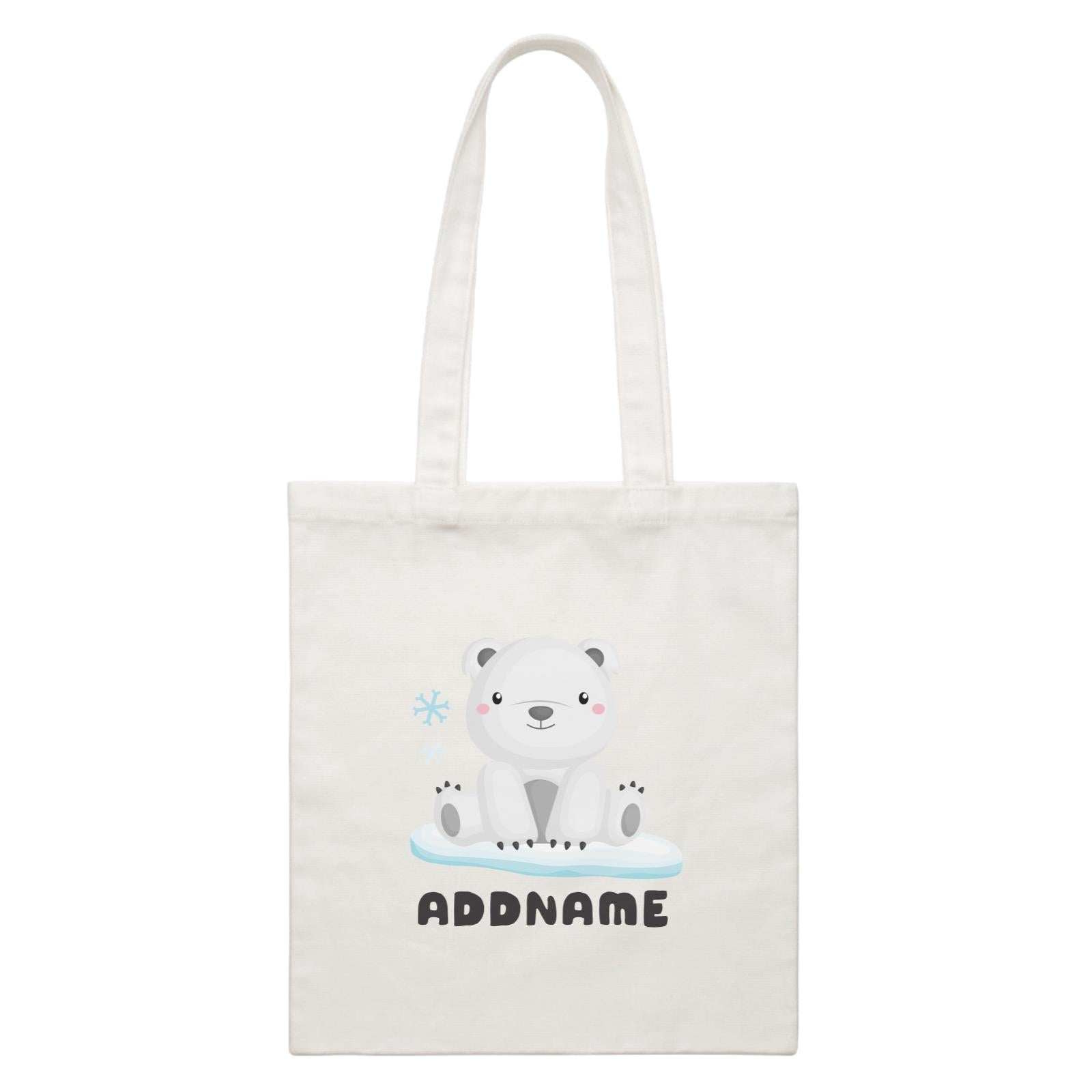 Birthday Winter Animals Polar Bear Addname White Canvas Bag