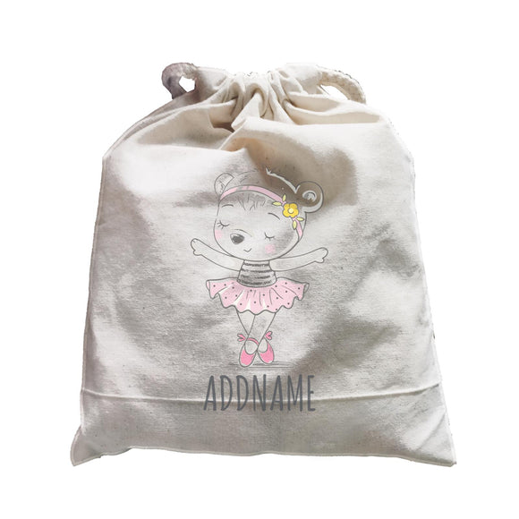 Girl Ballerina Bear Satchel Personalizable Designs Cute Sweet Animal Ballet Hobby Pinky For Girls HG