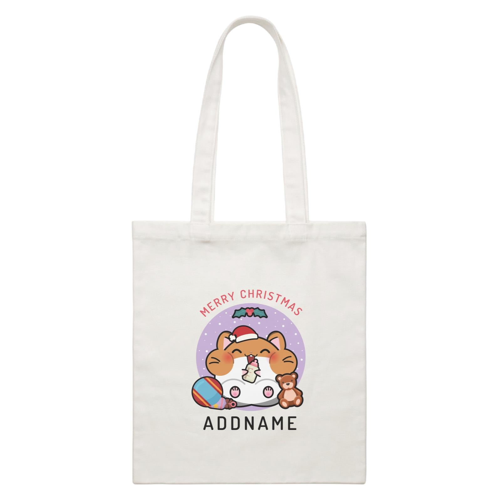 Merry Christmas Cute Santa Baby Hamster White Canvas Bag
