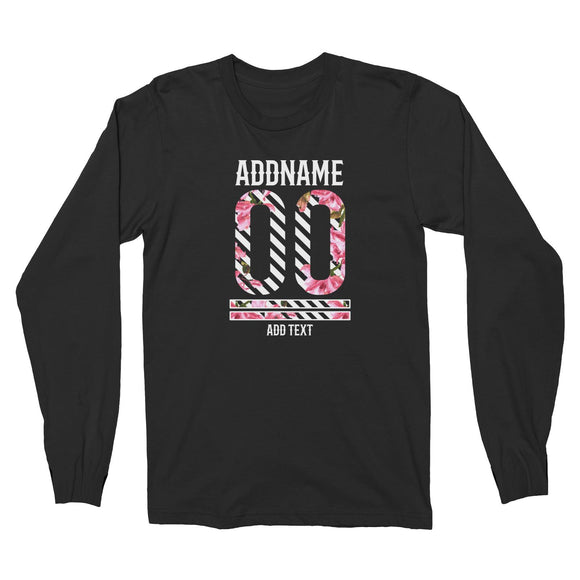 Pink Hibiscus Flower Stripes Jersey Personalizable with Name Number and Text Long Sleeve Unisex T-Shirt