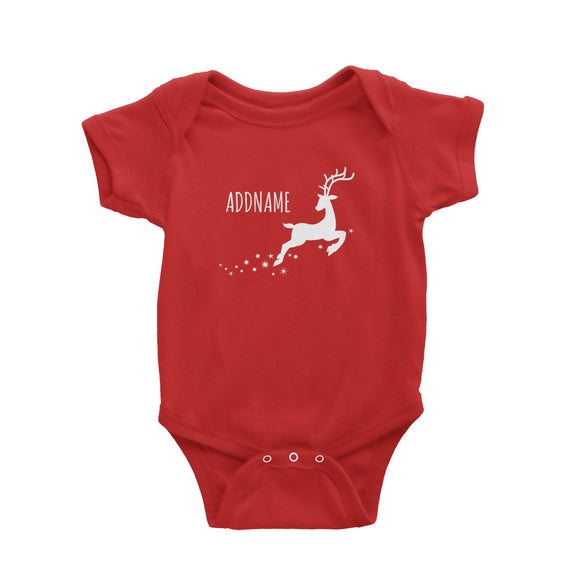 Flying Reindeer Silhouette Addname Baby Romper Christmas Personalizable Designs Animal Matching Family