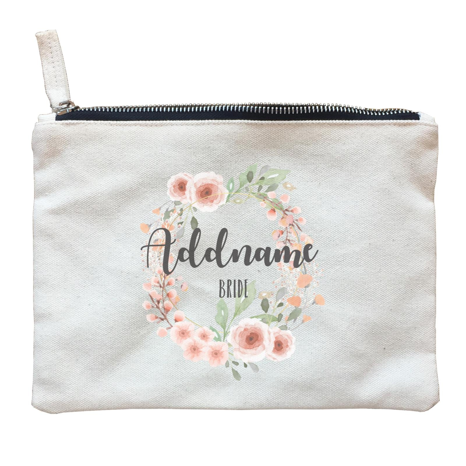 Bridesmaid Floral Sweet 2 Watercolour Flower Wreath Bride Addname Zipper Pouch