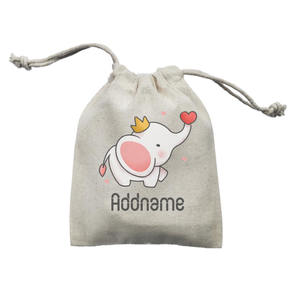 Cute Hand Drawn Style Baby Elephant with Heart and Crown Addname Mini Accessories Mini Pouch
