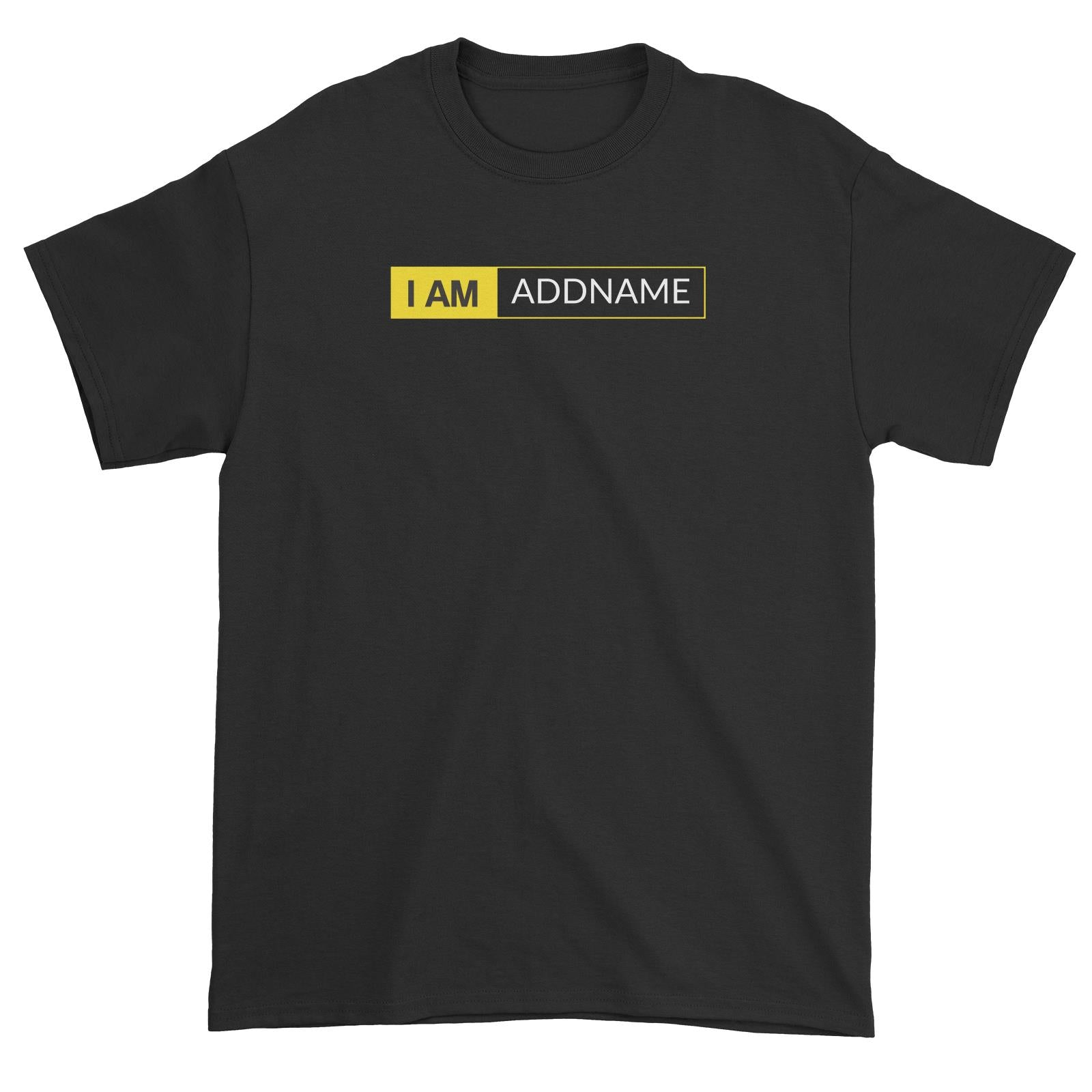 I AM Addname in Yellow Box Unisex T-Shirt Basic Nikon Matching Family Personalizable Designs